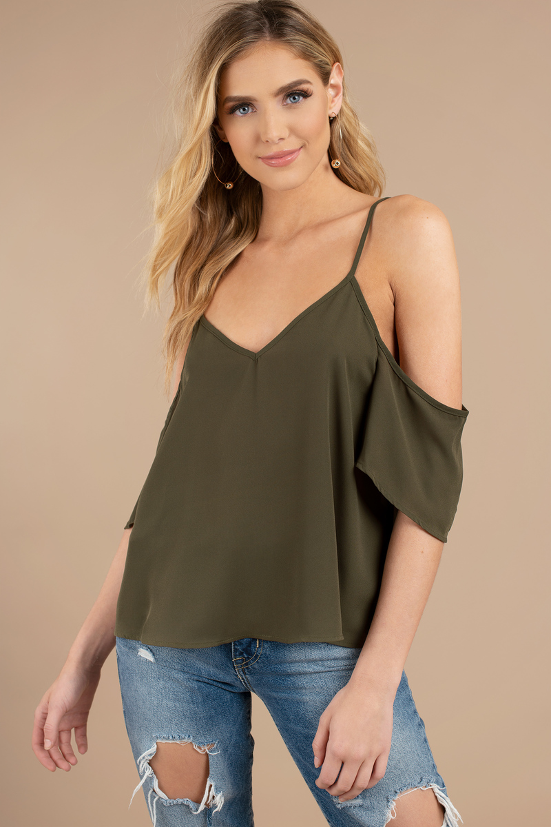 ebdcc5c5c978f4 Cute Olive Blouse - Cold Shoulder Blouse - Olive Blouse -  5