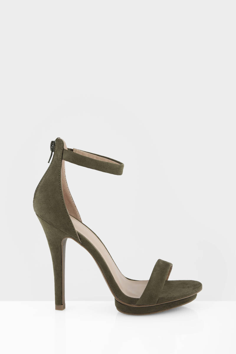 4452093bdc0 Olive Heels - Green Heels - Open Toe Heels - Army Green Pumps -  35 ...