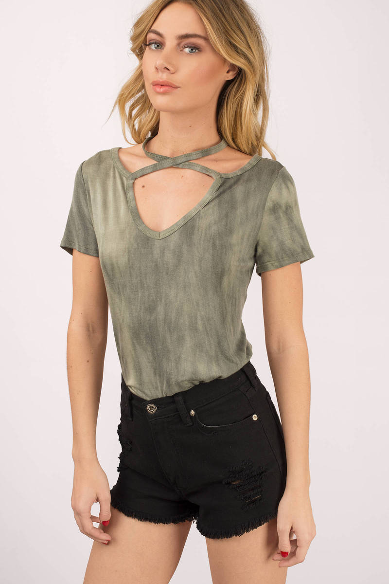 ce6cd0ea87 Olive Green Tee - Criss Cross Shirt - Choker Tee - Olive Green Shirt ...