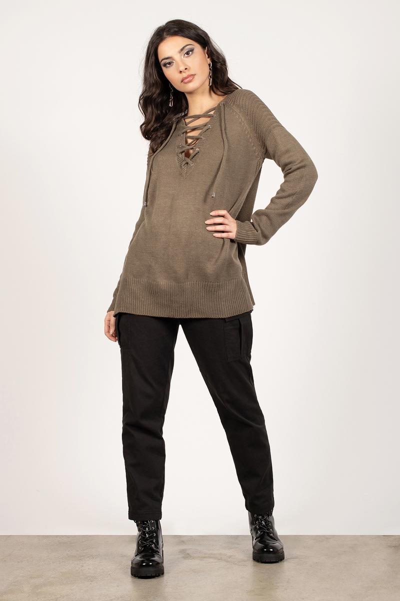 28b37e527f Cheap Black Sweater - V Neck Sweater - Lace Up Sweater - Black ...