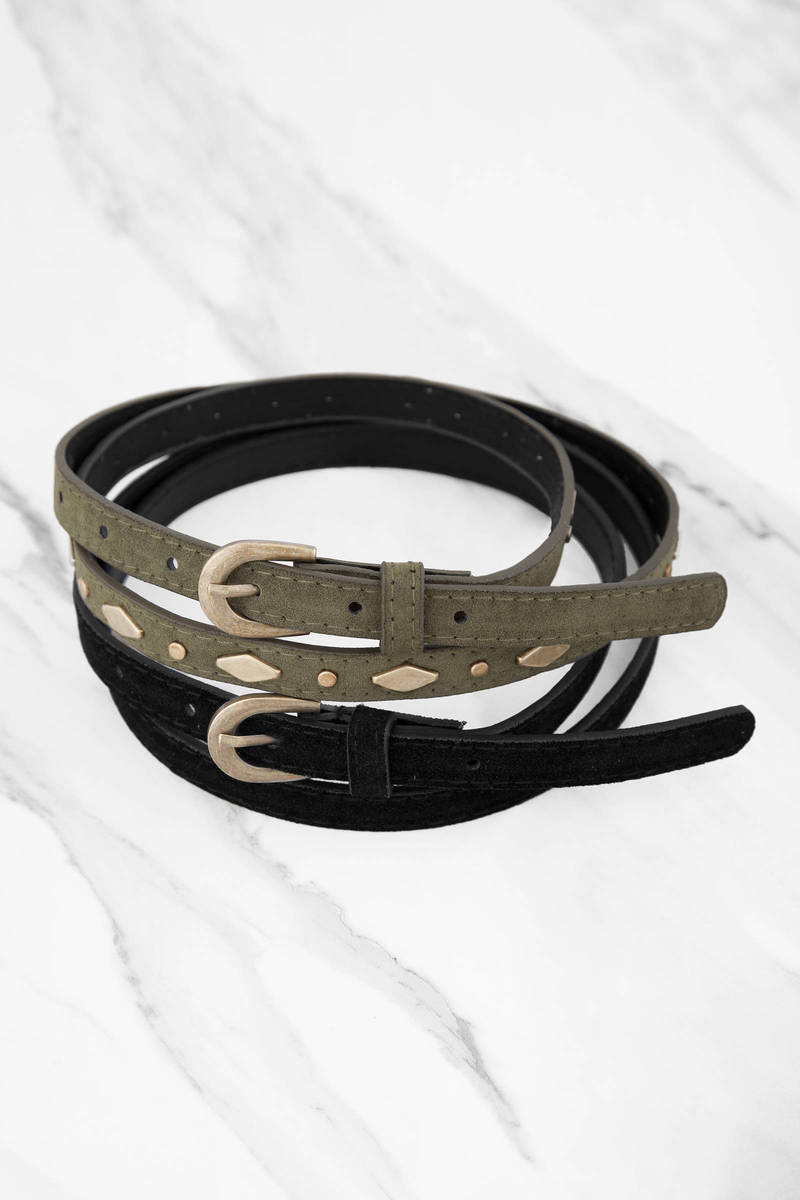 Jude Olive & Black Studded Suede Belt Set