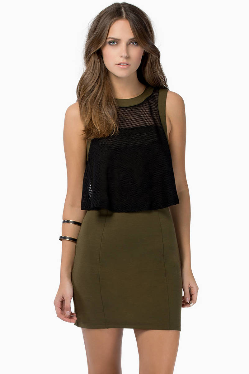 One Heart Olive & Black Sheer Overlay Tank Bodycon Dress