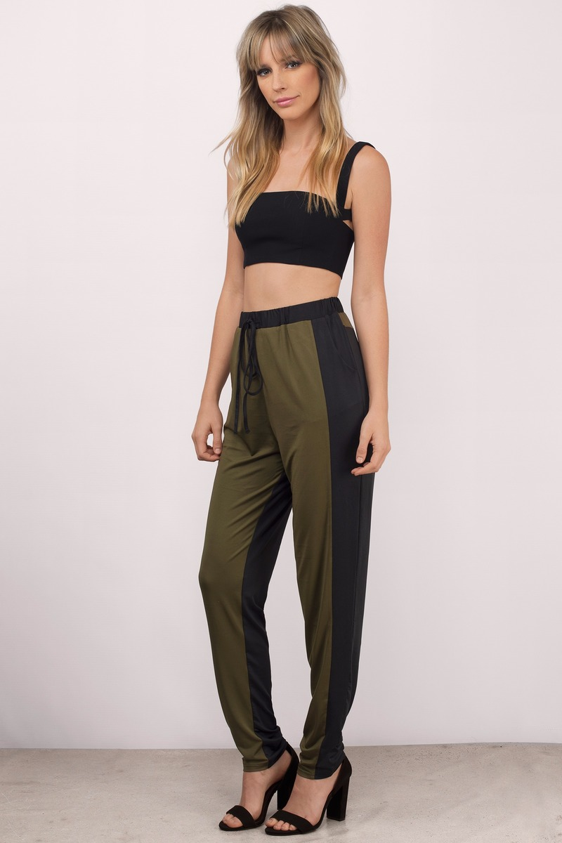 Take A Hike Olive & Black Jogger Pants