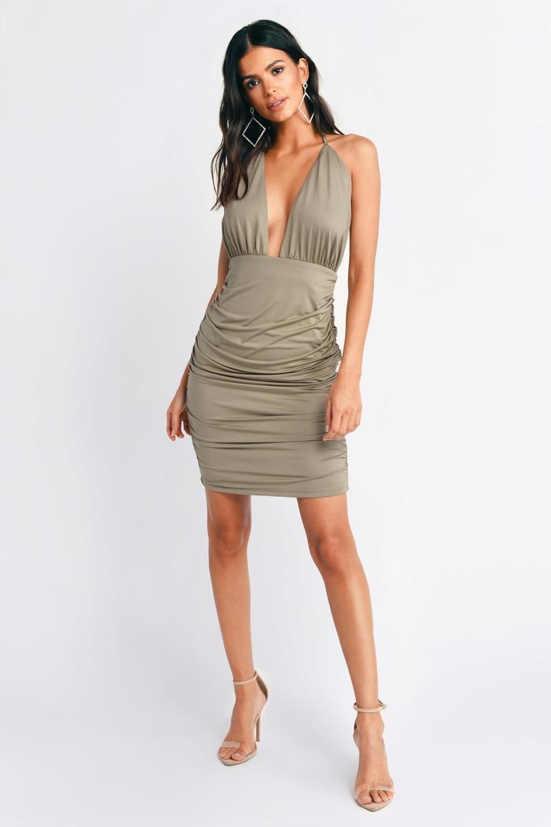 95765494ea9 Olive Dress - Slinky Dress - Olive Bodycon Dress - Cocktail Hour ...