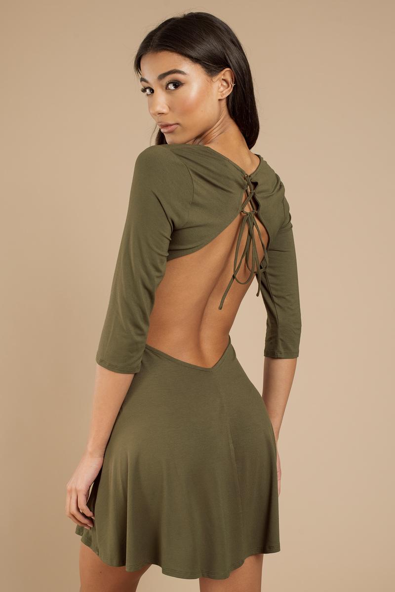 Cute Olive Dress - Open Back Dress - Olive Green - Skater Dress ... 38d8464436cf