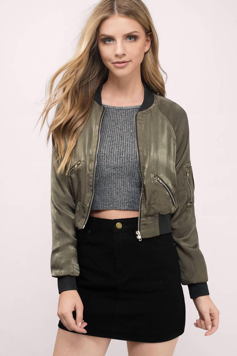 Carlie Olive Satin Bomber Jacket