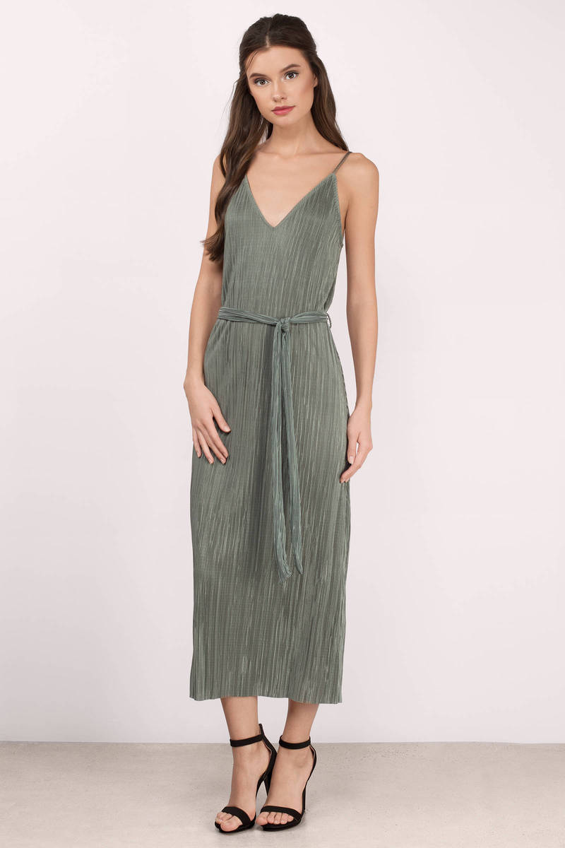 Charlene Olive Pleated V Neck Midi Dress