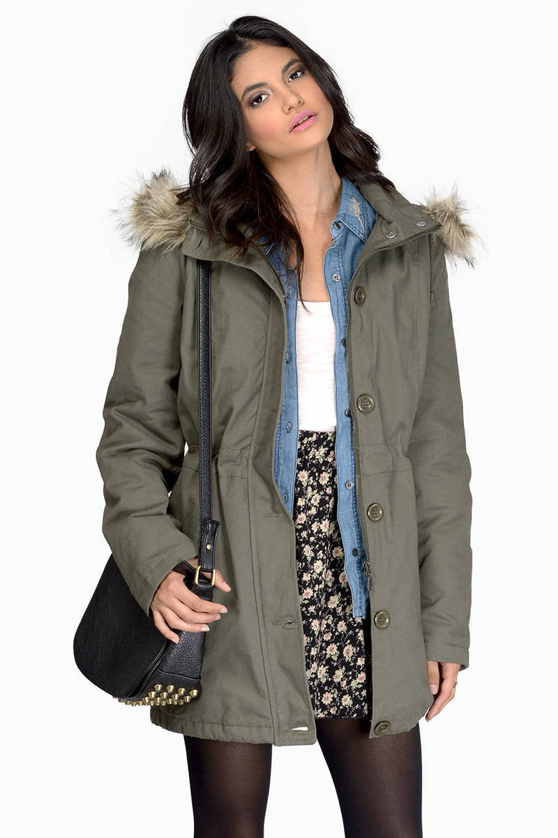 Chasing Rumors Olive Long Sleeve Fur Trim Hood Anorak Coat