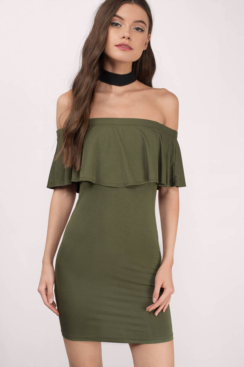 23fa55d4ceeb Olive Shift Dress - Off The Shoulder Dress - Green Shift Dress - C ...