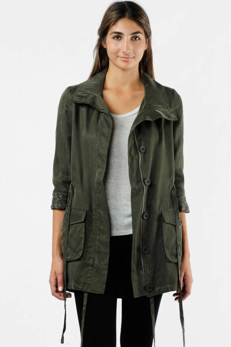 d3c7bf90b Green Ella Moss Jacket - Button Up Designer Jacket - Green Parka ...