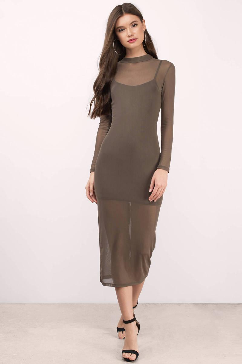 Confess To Me Olive Mesh Midi Dress