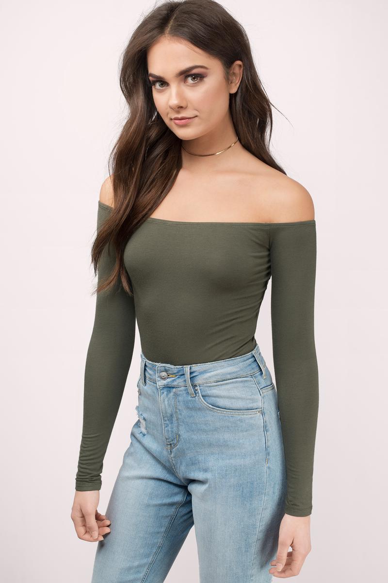 Cute Olive Bodysuit - Ribbed Bodysuit - Olive Bodysuit -  11  f4fff9426