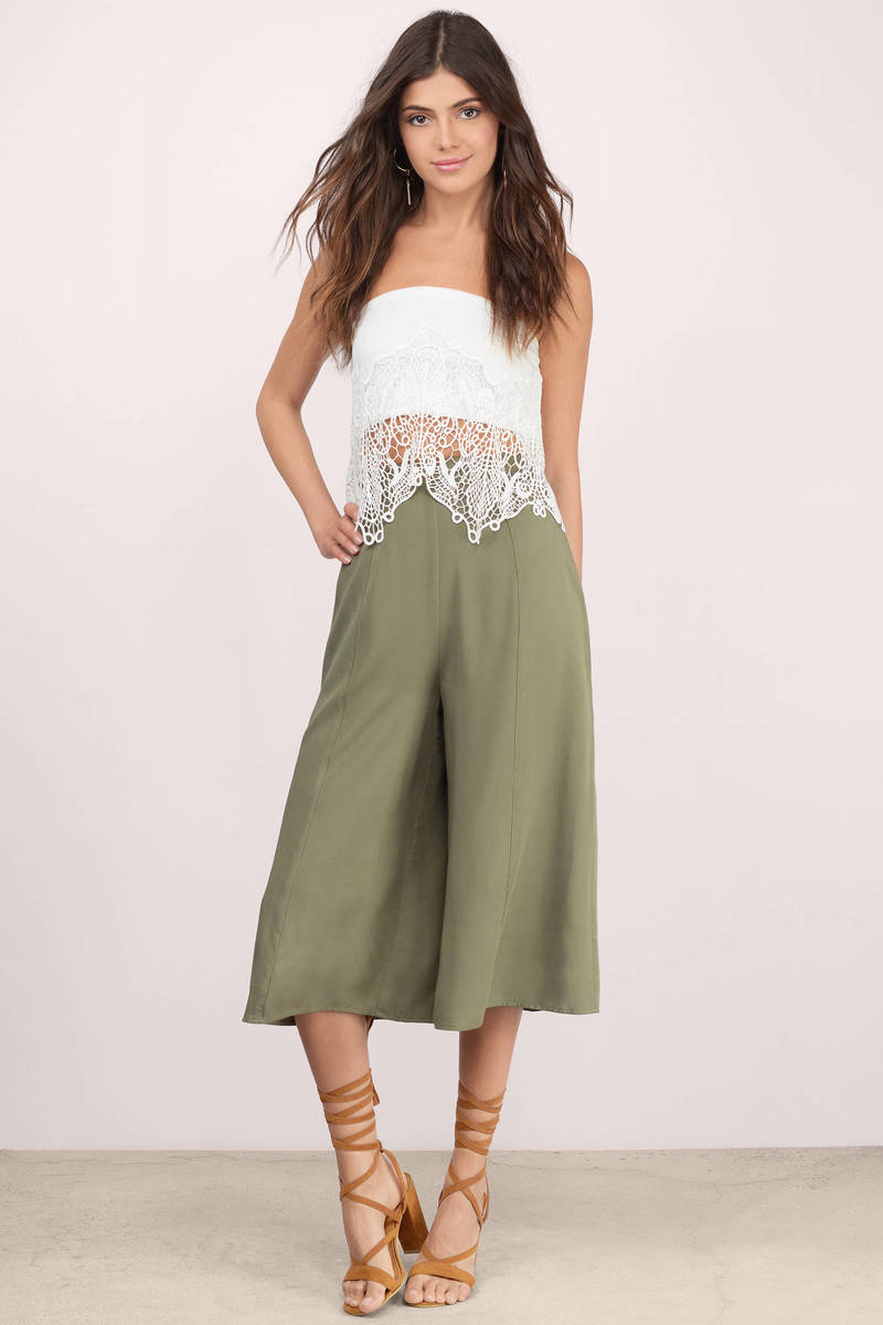 Cheap Olive Pants - Wide Leg Pants - Culotte Pants