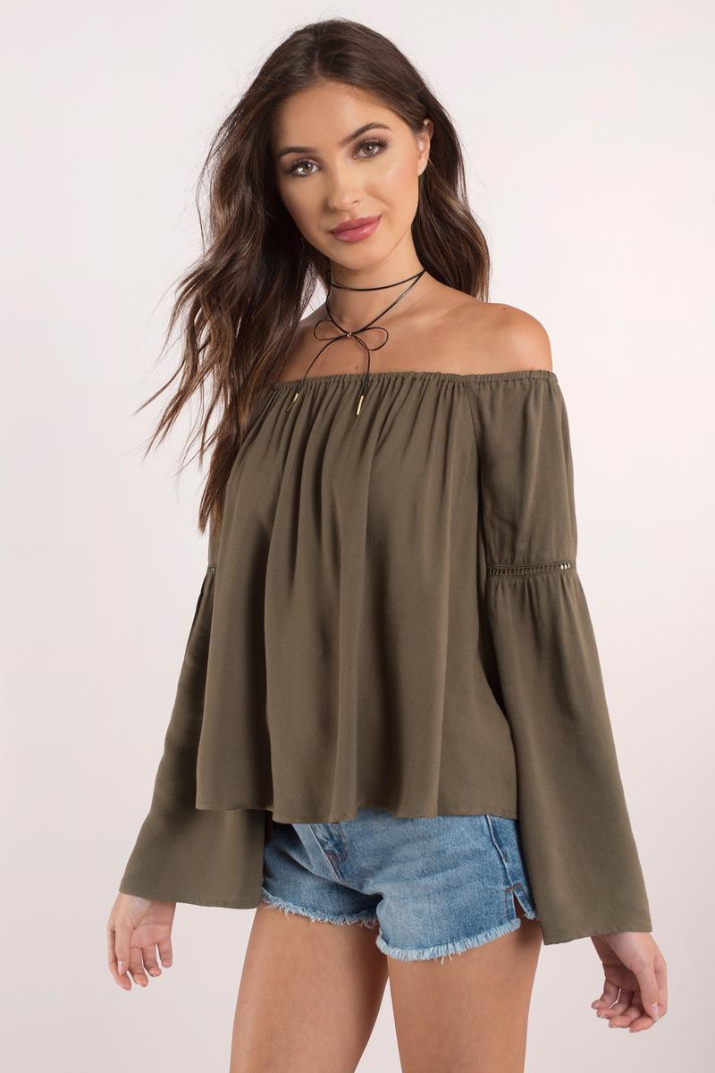 Cute Olive Shirt - Olive Shirt - Off Shoulder Shirt - Olive Top ...