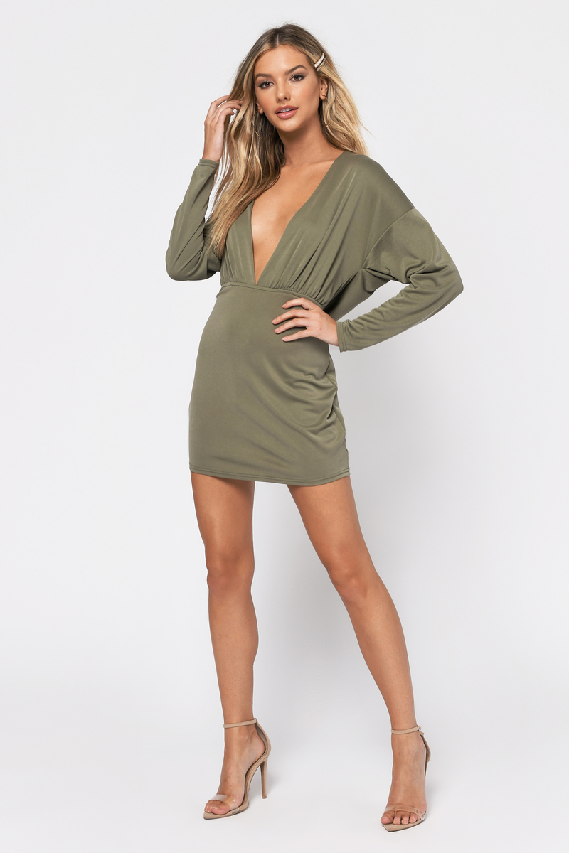 856eab39cb5 Trendy Olive Green Bodycon Dress - Deep V Dress - Petite Olive Green ...