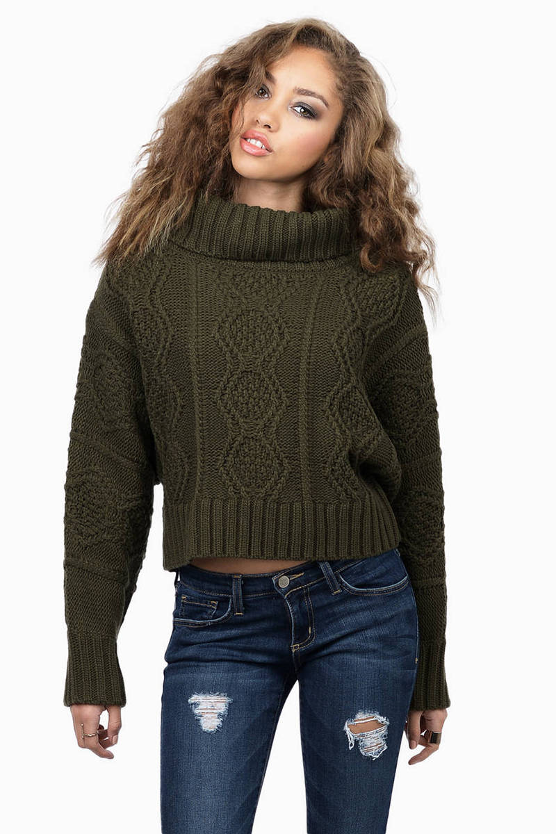 Don't Mock It Teal Cable Knit Sweater