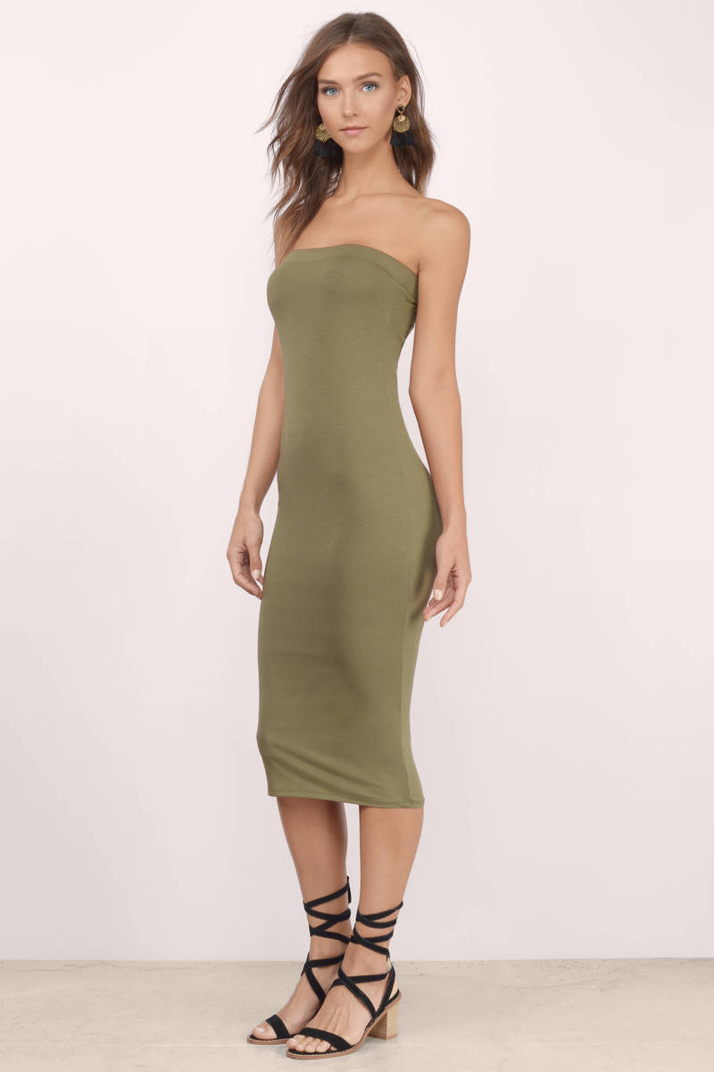 Olive Midi Dress - Olive Dress - Strapless Dress - Olive Midi - $34