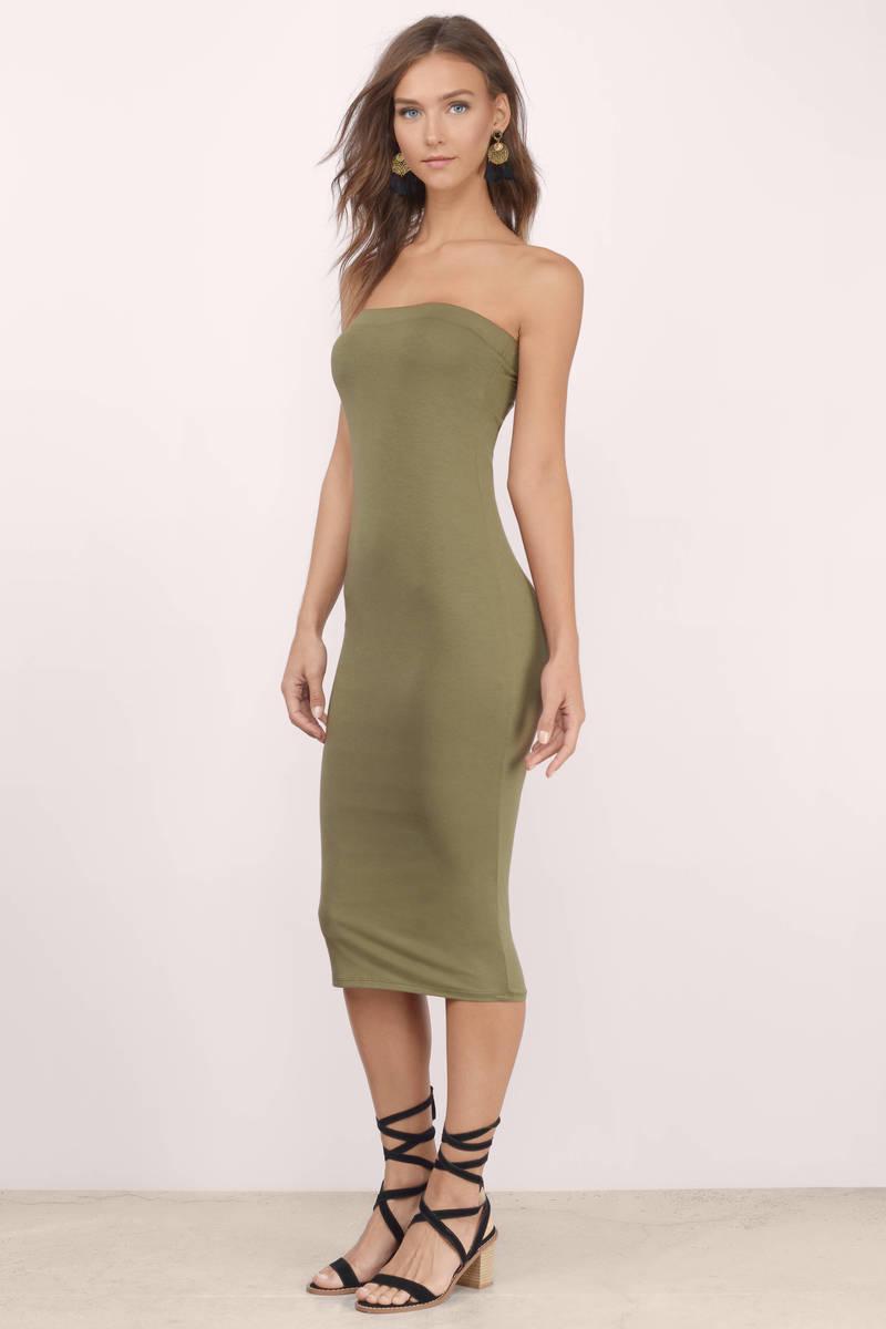 Taupe Midi Dress - Taupe Dress - Strapless Dress - Taupe Midi ...