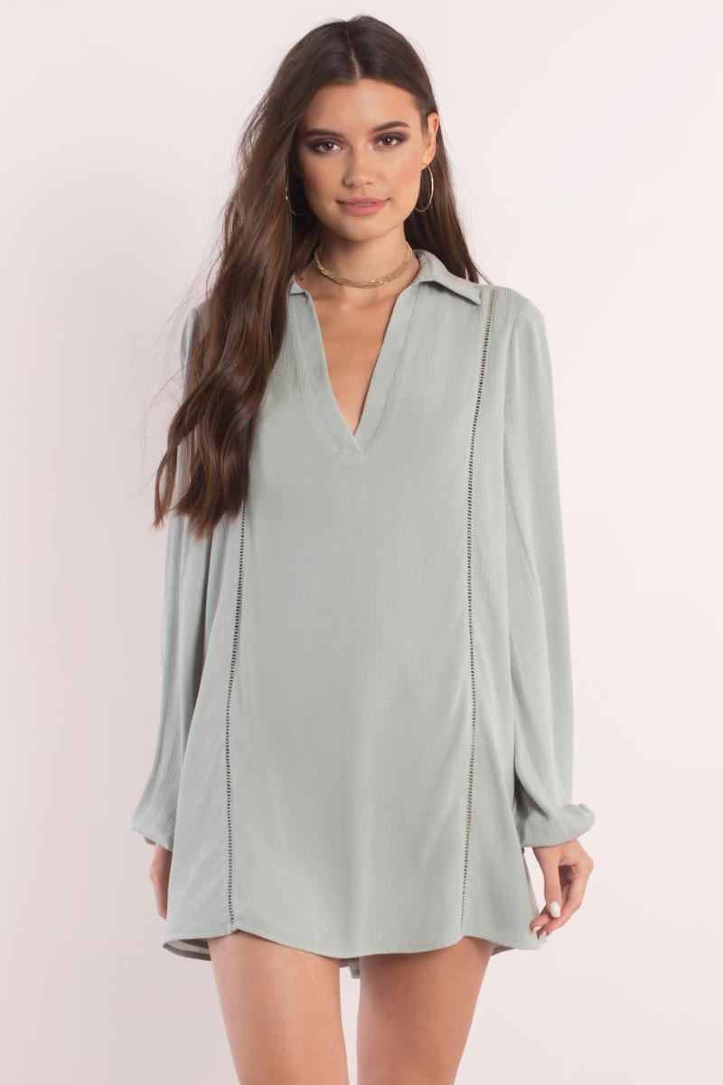 Olive Dress - Long Sleeve Dress - Olive Kaftan Dress - Day Dress ... bf09a1f76