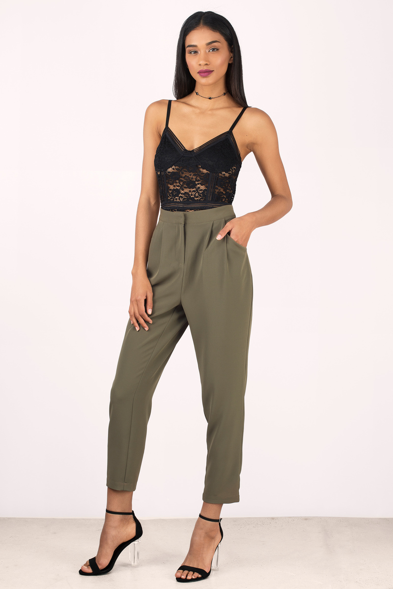 Black Pants - Black Pants - High Waisted Pants - Army ...