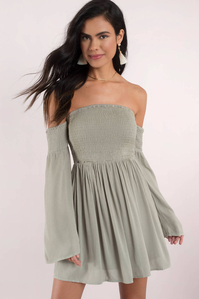 6e9761164ae6c Cute Olive Skater Dress - Off Shoulder Dress - Skater Dress -  88 ...