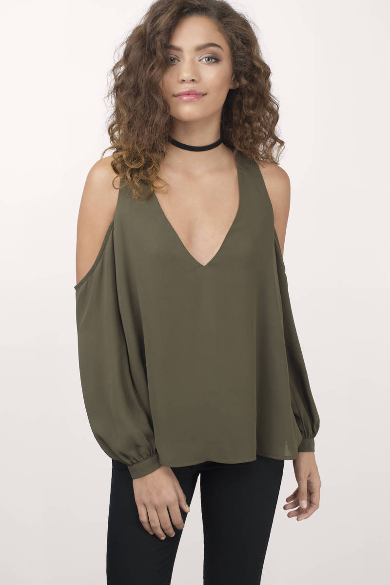 392c2384f61f17 Trendy Olive Shirt - Cold Shoulder Shirt - Olive Shirt -  15