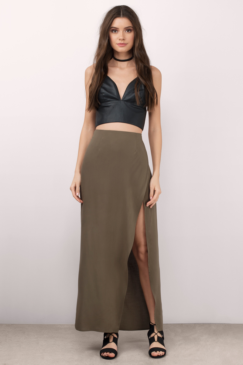 high slit black skirt trendy olive skirt maxi skirt high waisted skirt 1764