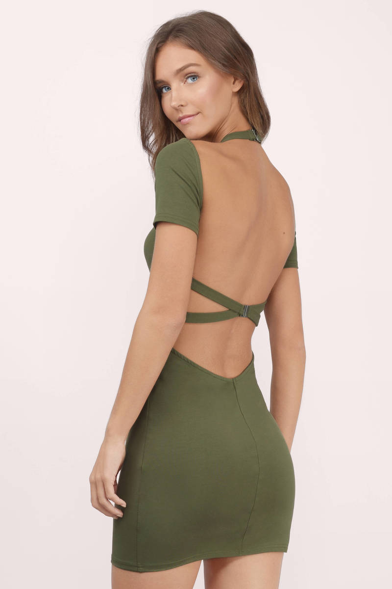 a6af9ca266 Sexy Olive Dress - Open Back Dress - Cross Over Dress - Bodycon ...