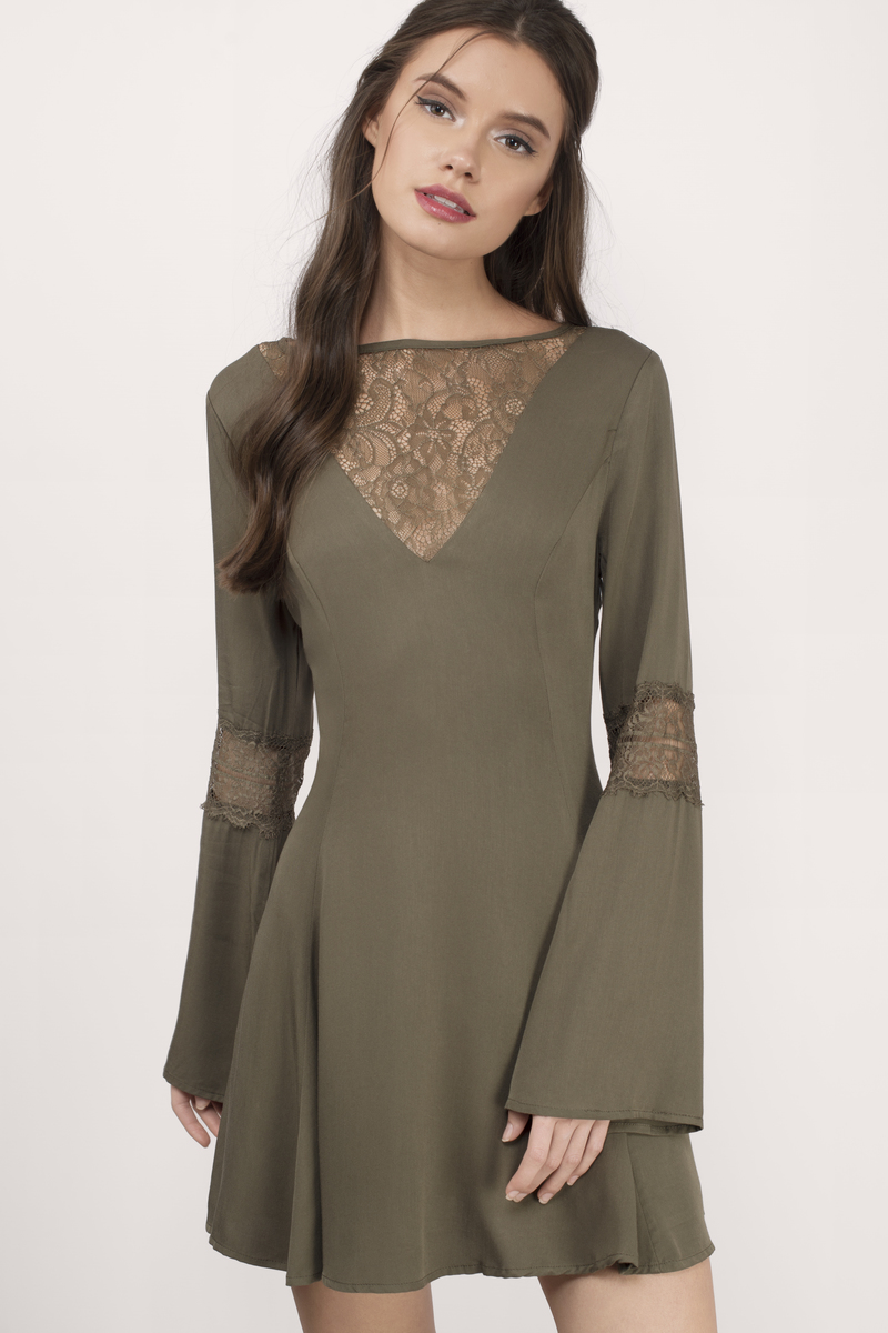 98a867bb3d5 Trendy Olive Skater Dress - Deep V Dress - Skater Dress -  16