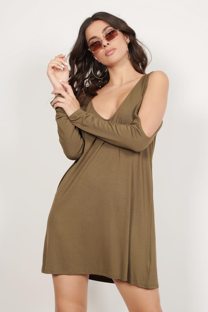 5bb1828253d350 Olive Dress - Cold Shoulder Dress - Pewter Dress - Shift Dress -  15 ...
