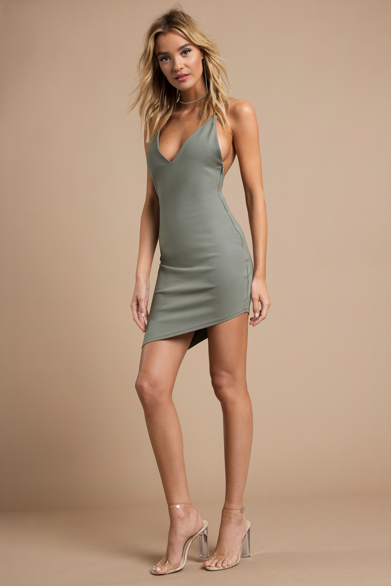 20665df096 Sexy Olive Dress - Open Back Dress - Stretch Dress - Bodycon Dress ...