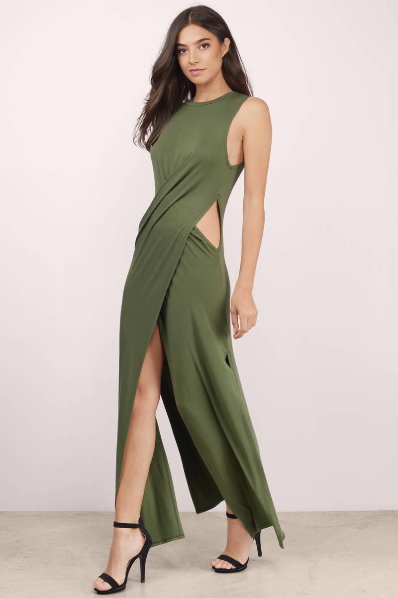 Chic Olive Dress - Cut Out Dress - Pewter Long Dress - Maxi Dress ...