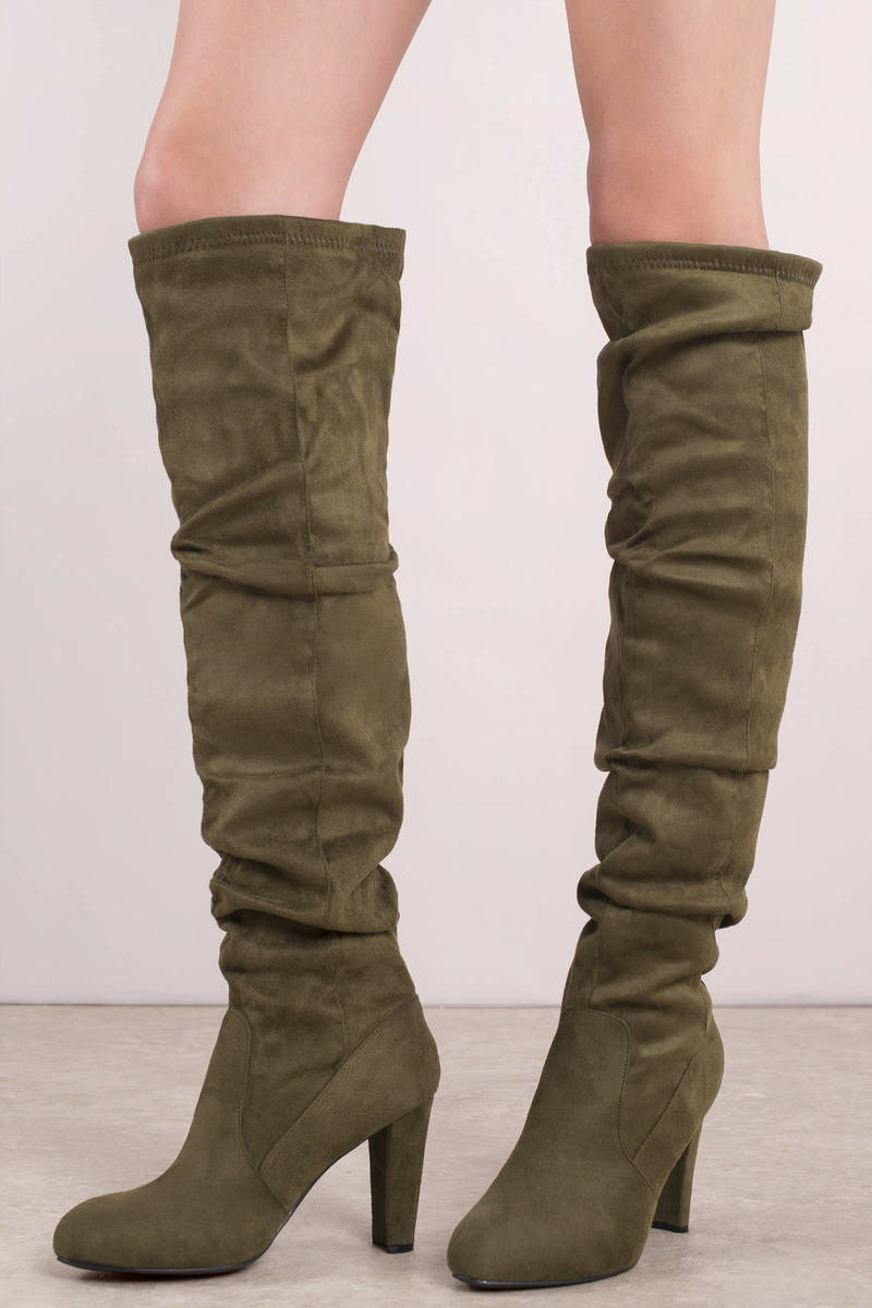 ecd075978f760 Olive Green Boots - Tall Vegan Boots - Olive Green Slouchy Knee High ...