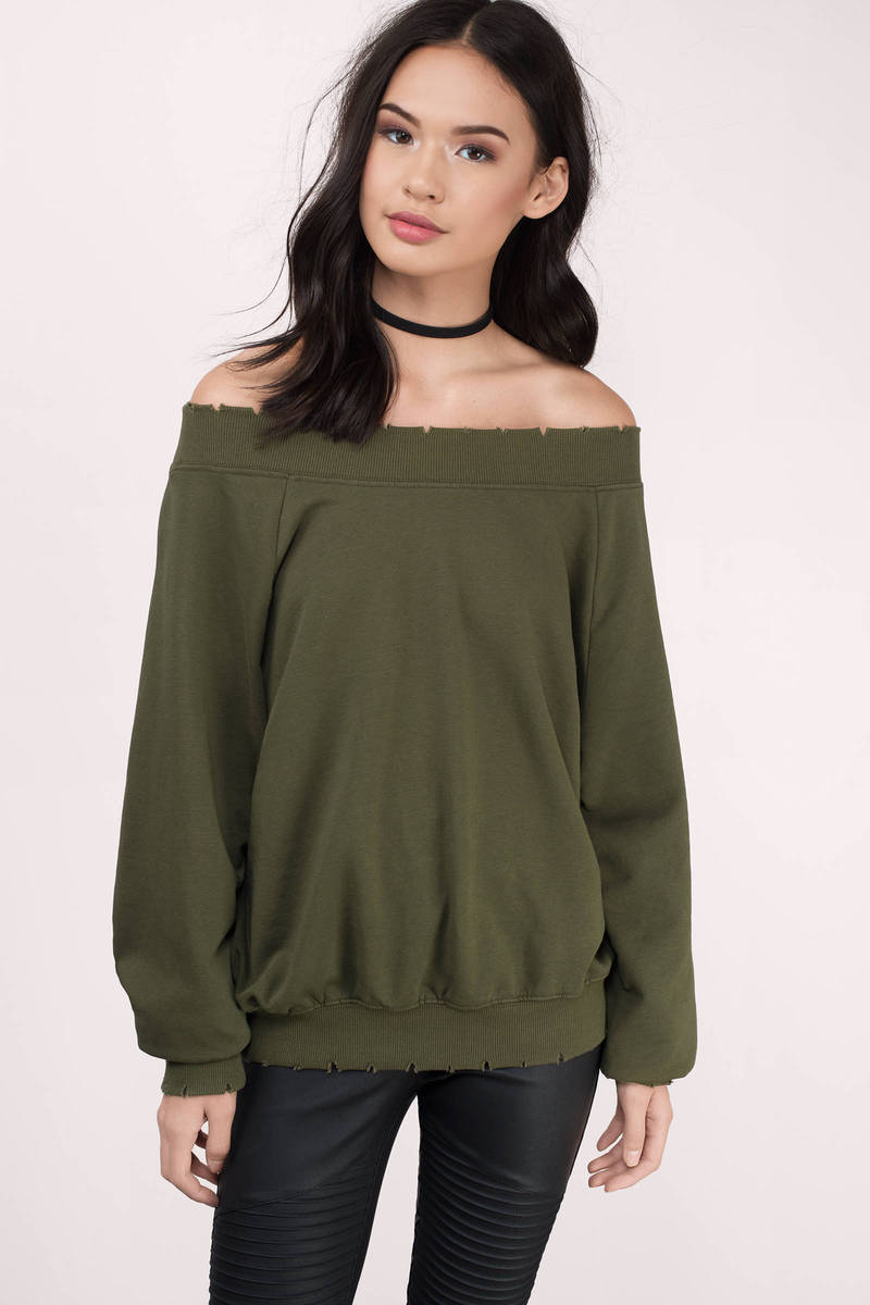 Honey Punch Honey Punch Hailey Olive Sweatshirt