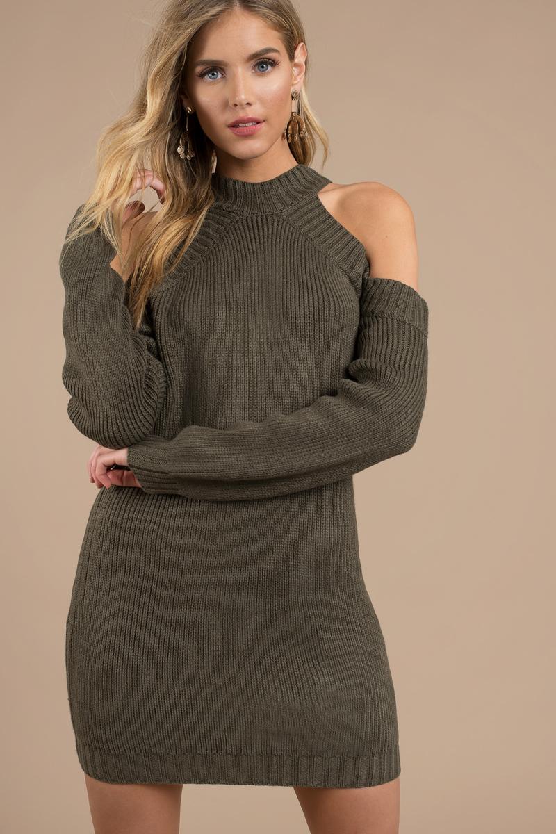 Cheap Olive Day Dress - Long Sleeve Dress - Day Dress - $26 | Tobi US
