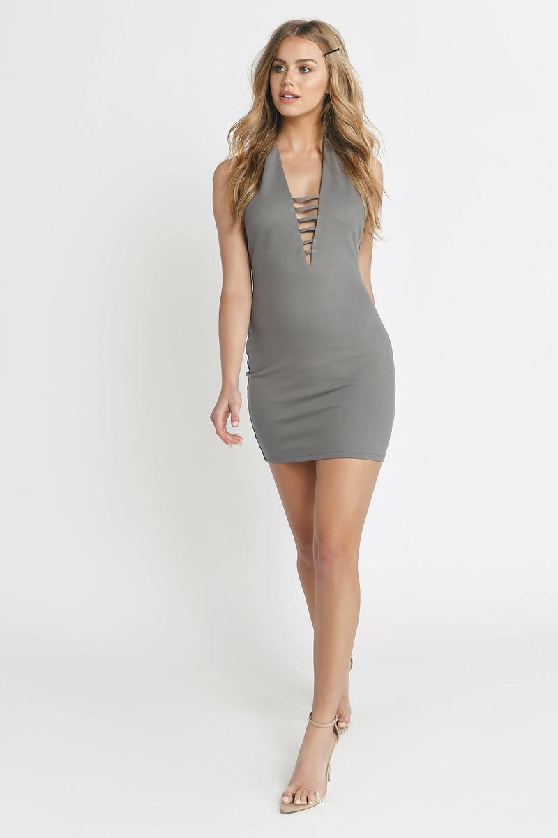 dcb483827c5d Sexy Dress - Ladder Trim Dress - Plunging - Rose Dress - € 19   Tobi NL