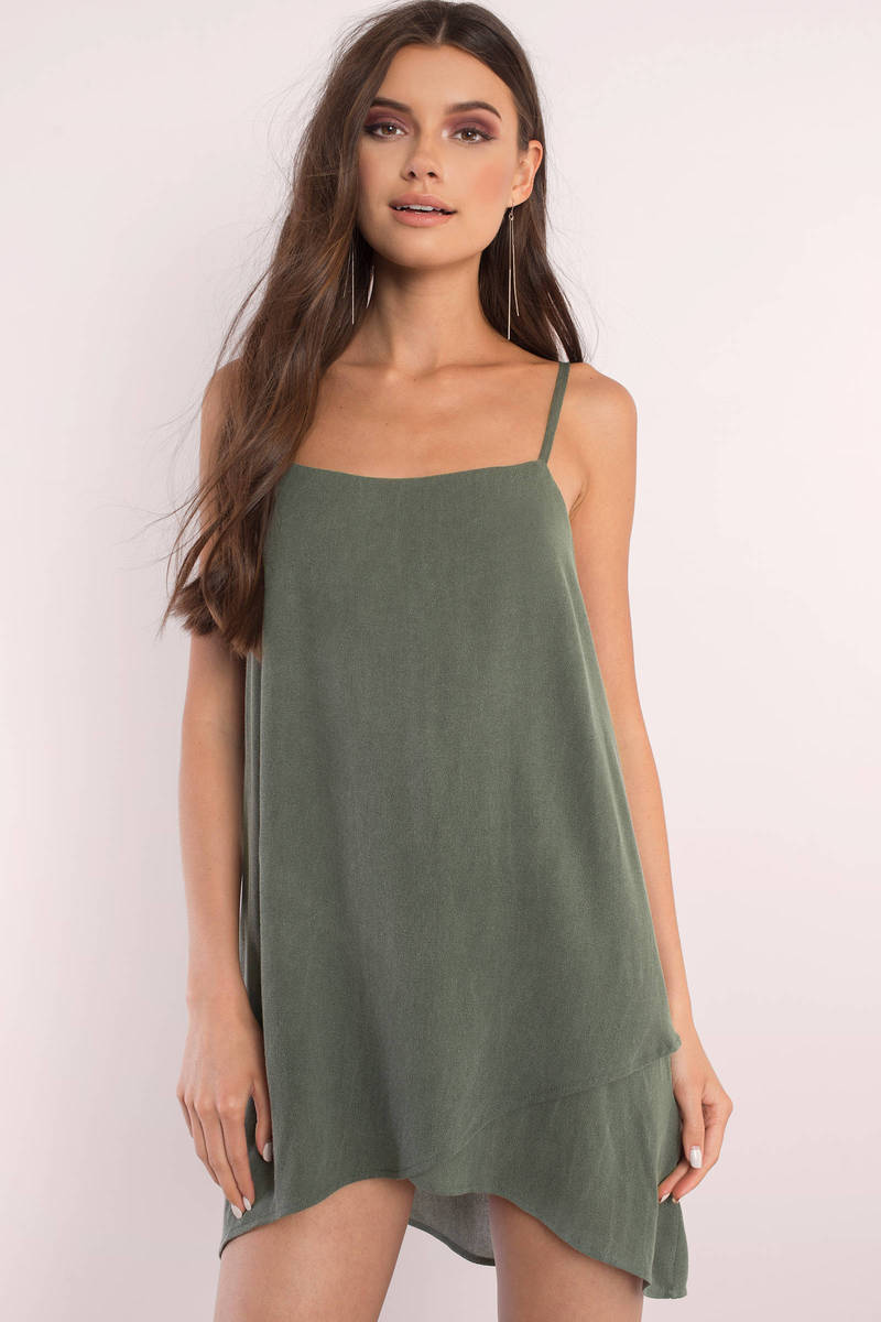Heather Olive Shift Dress