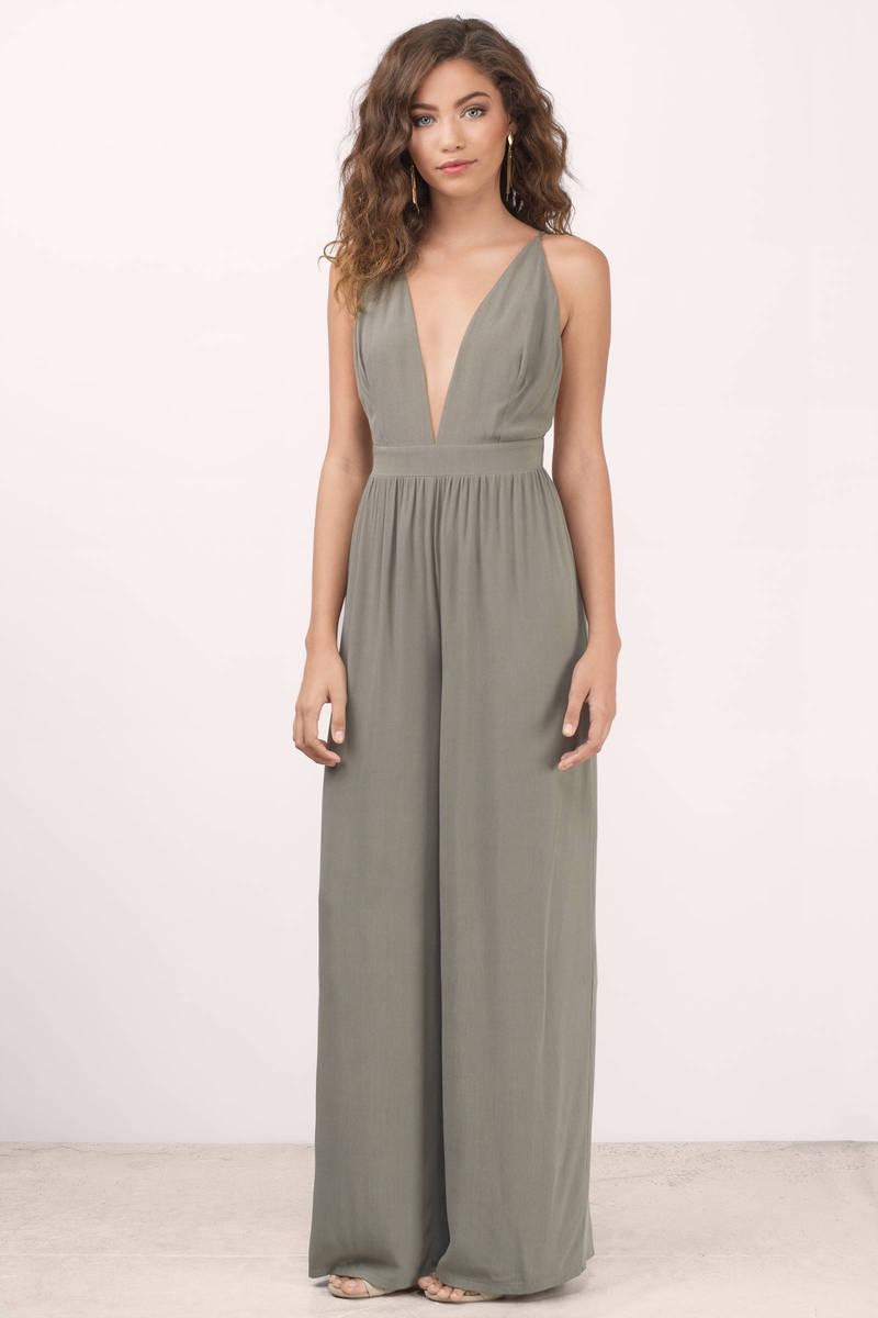 fdf1d6f1ccbb Trendy Olive Jumpsuit - Deep V Jumpsuit - Olive Jumpsuit -  86
