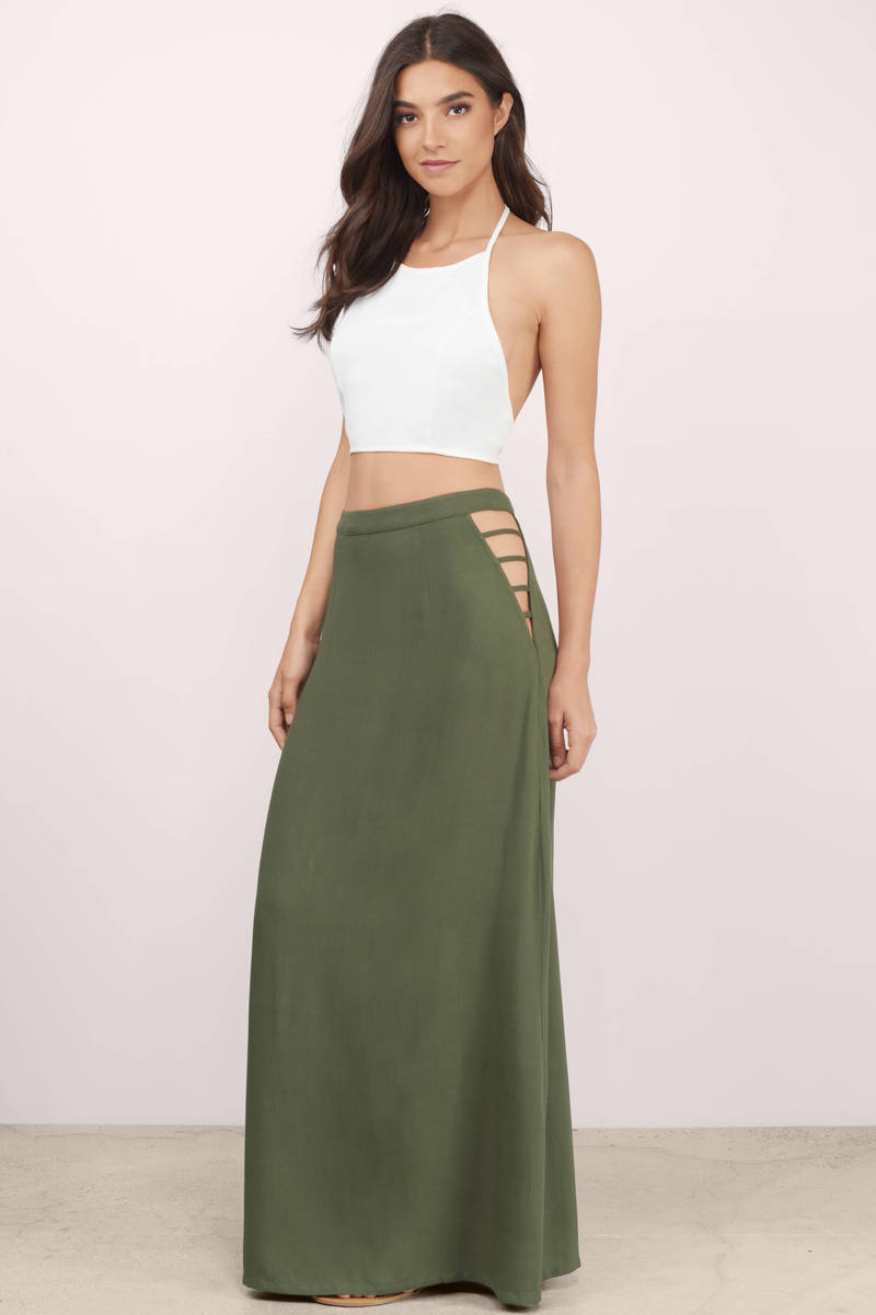 Cute Olive Skirts - High Waisted Skirts - Olive Skirt - $26.00