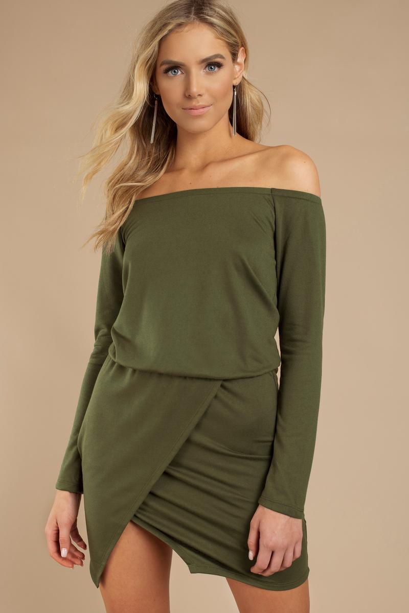 83278a5ea708 Trendy Olive Day Dress - Off Shoulder Dress - Day Dress -  10