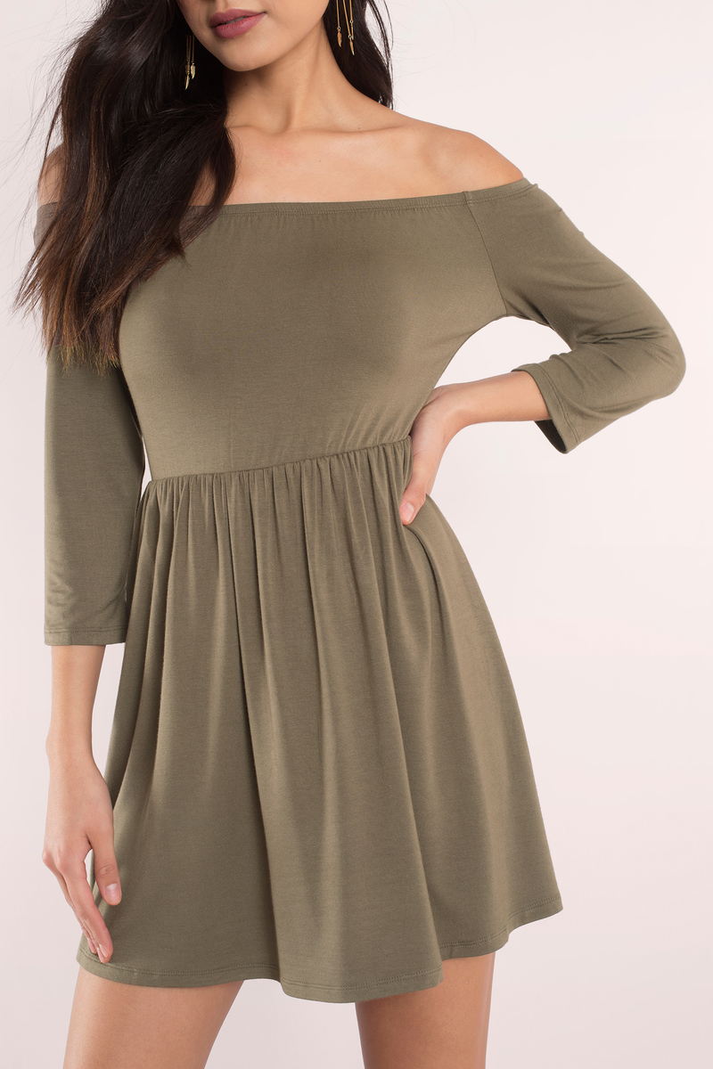 bcf8283cfa68 Pretty Olive Green Dress - Off Shoulder Dress - Skater Dress -  15 ...