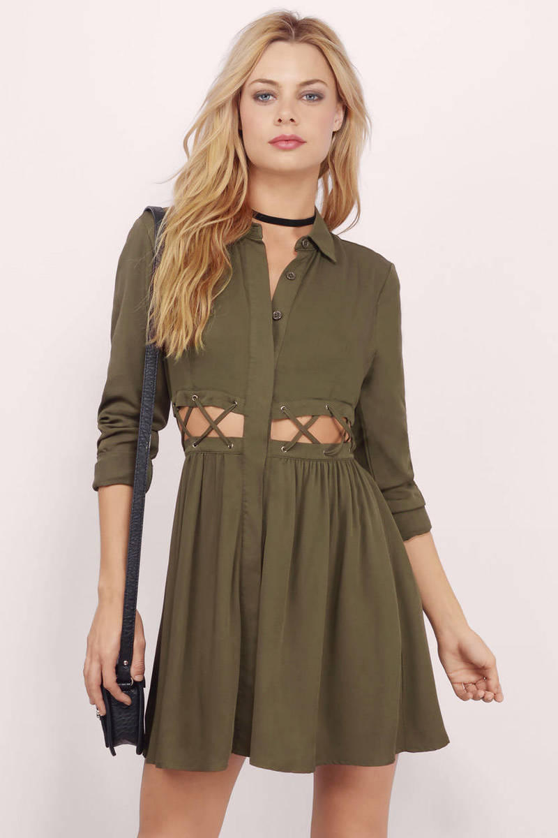 Kailee Olive Skater Dress