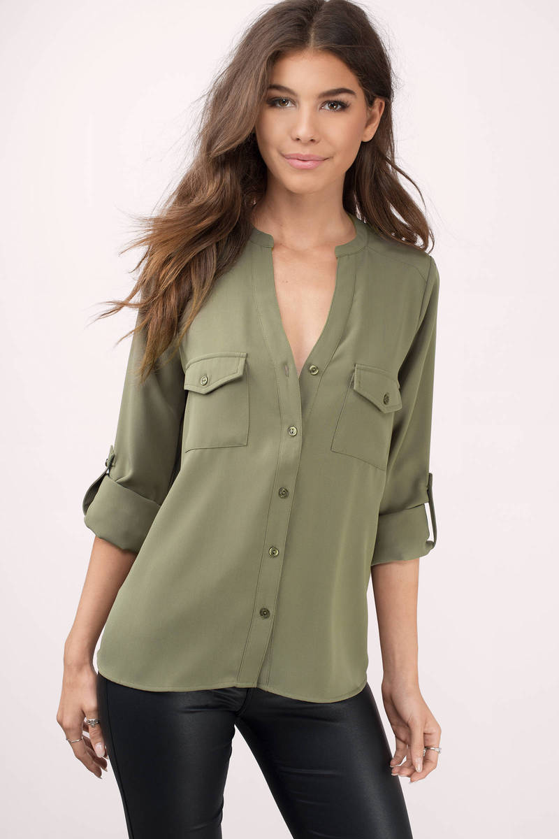 b2bdcd104 Cute Olive Blouse - Green Blouse - Button Down Blouse - Olive Blouse ...