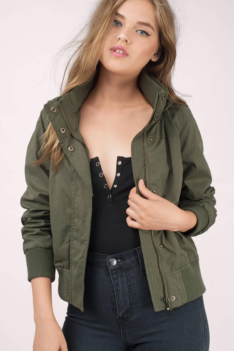 Lainey Olive Bomber Jacket