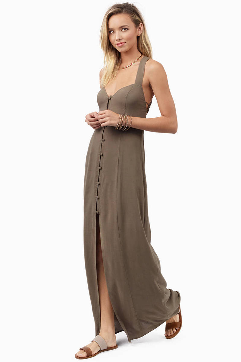 Cheap Black Maxi Dress - High Slit Dress - $13.00