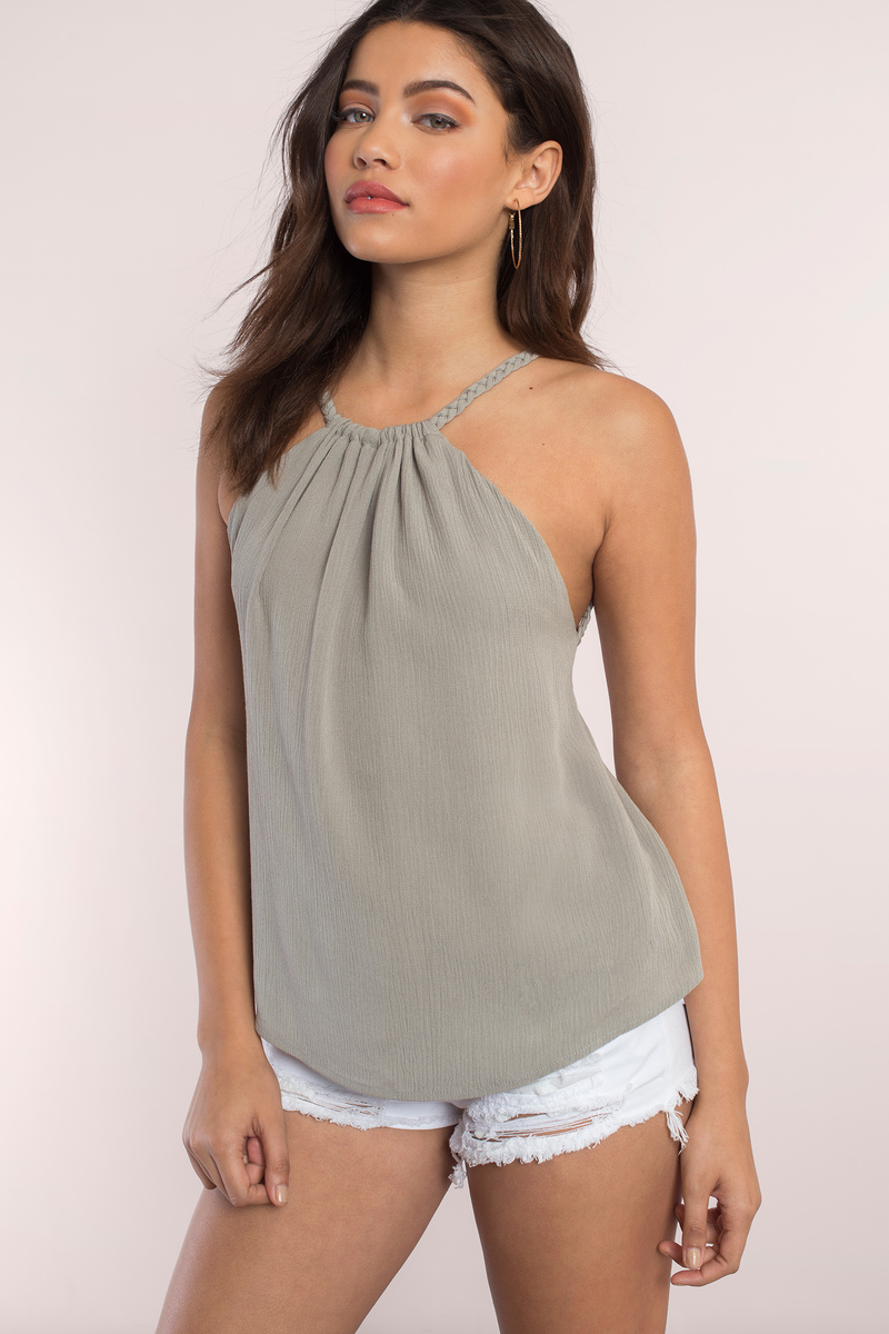 Logan White Halter Tank Top