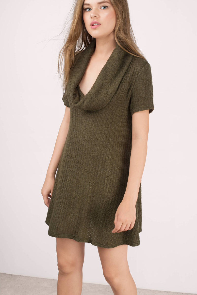 18e77cea6a4 Olive Shift Dress - Green Dress - Cowl Neck Dress - Army Green ...
