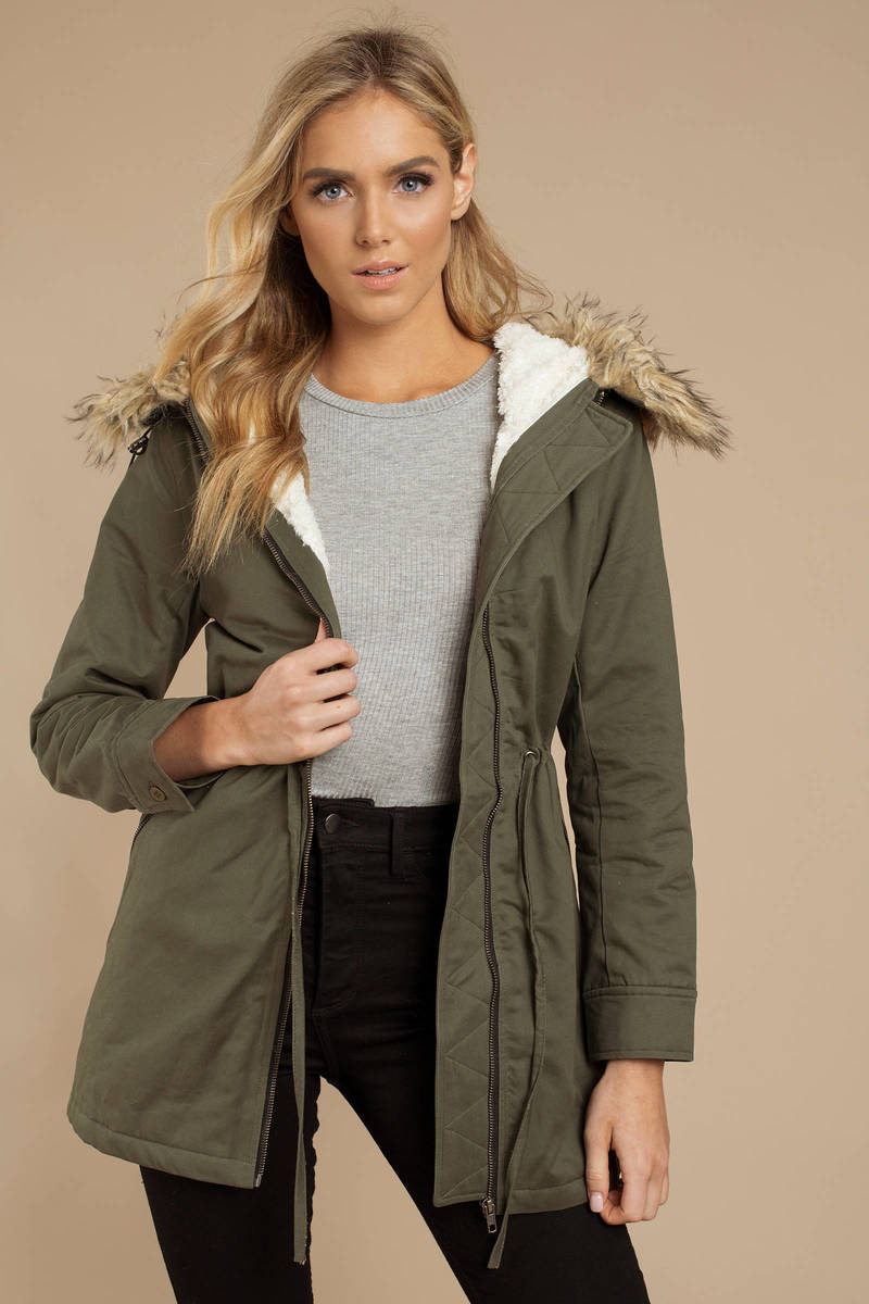 008fdb170516 Olive Green Jacket - Hooded Faux Fur Coat - Olive Green Anorak ...