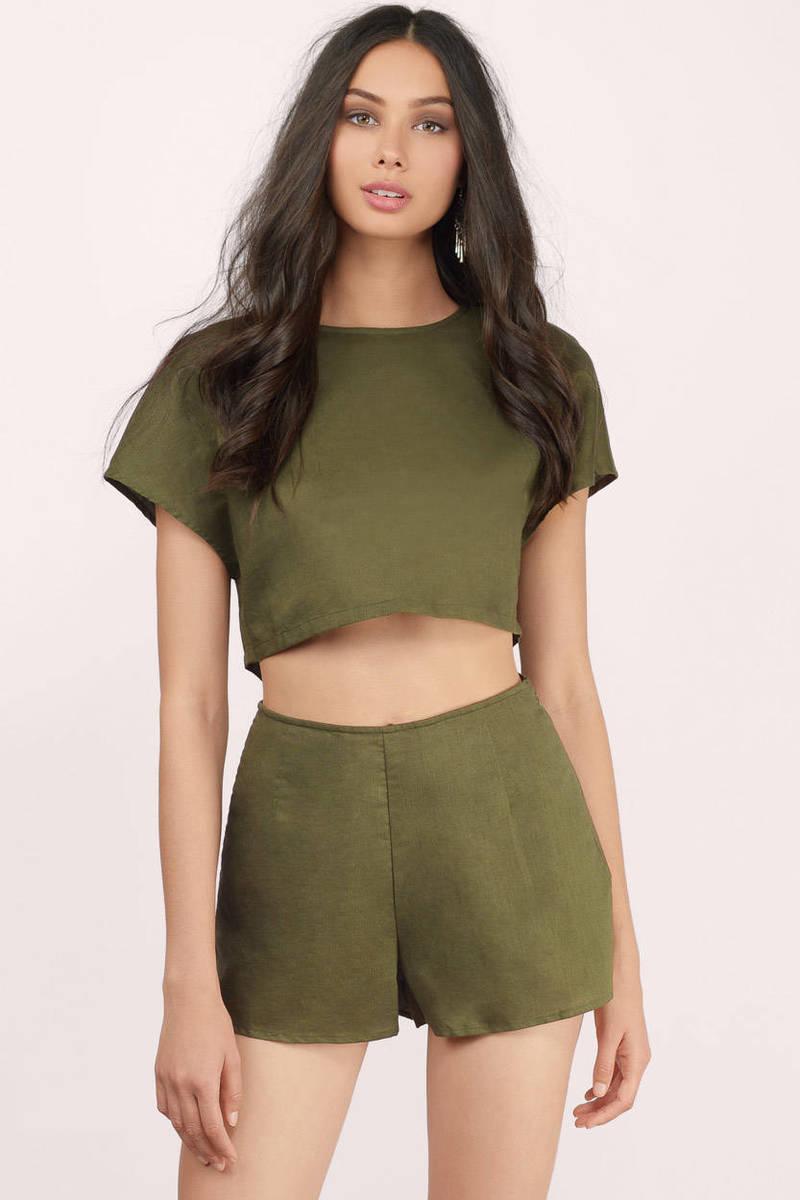 Cheap Olive Shorts - High Waisted Shorts - Olive Shorts - $21.00