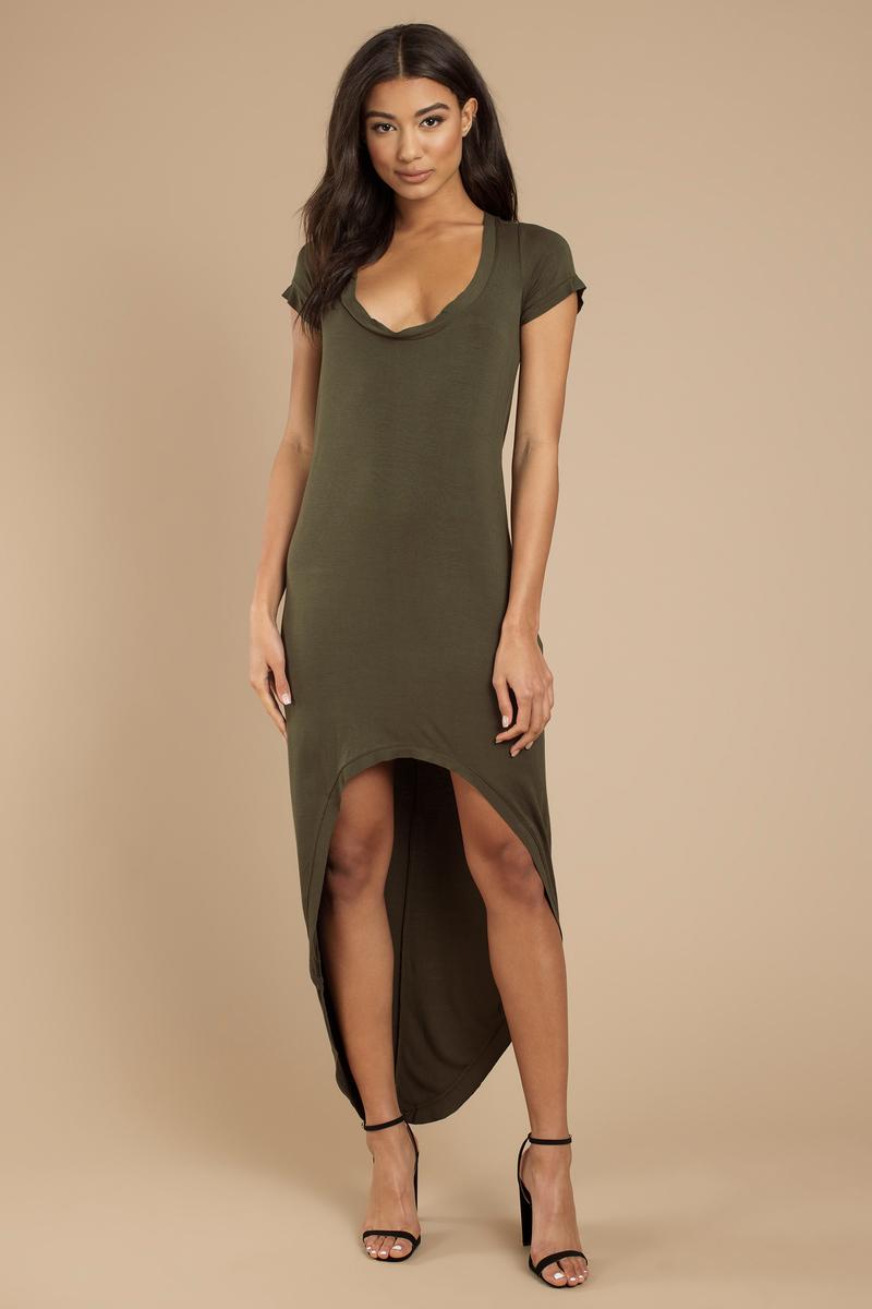 02f10dae Cute Olive Maxi Dress - High Low Dress - Olive Green Cap Sleeve ...